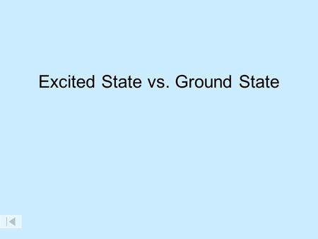 Excited State vs. Ground State. e-e- e-e- Ground state Excited state Electrons can only be at specific energy levels, NOT between levels.