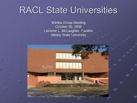 RACL State Universities Wimba Group Meeting October 30, 2008 LaVerne L. McLaughlin, Facilitor Albany State University.