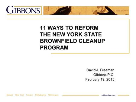 Newark New York Trenton Philadelphia Wilmington 11 WAYS TO REFORM THE NEW YORK STATE BROWNFIELD CLEANUP PROGRAM David J. Freeman Gibbons P.C. February.