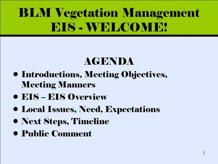 Click to edit Master title style 1 BLM Vegetation Management EIS - WELCOME! AGENDA Introductions, Meeting Objectives, Meeting Manners EIS – EIS Overview.