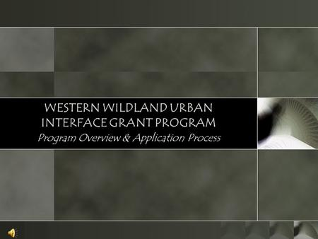 WESTERN WILDLAND URBAN INTERFACE GRANT PROGRAM Program Overview & Application Process.