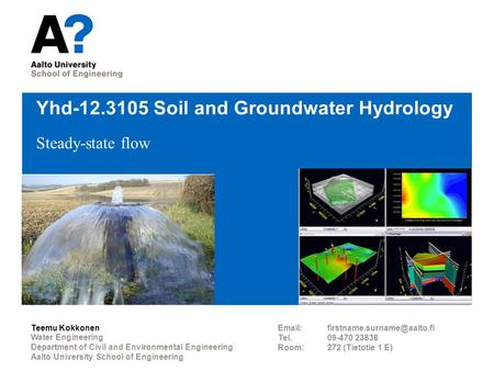Yhd Soil and Groundwater Hydrology