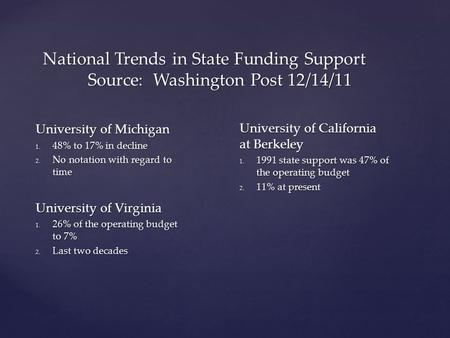 National Trends in State Funding Support Source: Washington Post 12/14/11 University of Michigan 1. 48% to 17% in decline 2. No notation with regard to.