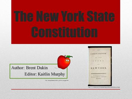 The New York State Constitution Author: Brent Dukin Editor: Kaitlin Murphy https://www.nyhistory.org/web/crossroads/images/medium/constitution_ny_title.jpg.
