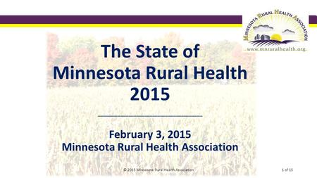 The State of Minnesota Rural Health 2015 ________________________________________ February 3, 2015 Minnesota Rural Health Association © 2015 Minnesota.