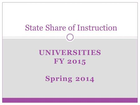 UNIVERSITIES FY 2015 Spring 2014 State Share of Instruction.