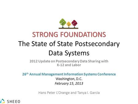 STRONG FOUNDATIONS STRONG FOUNDATIONS The State of State Postsecondary Data Systems 2012 Update on Postsecondary Data Sharing with K-12 and Labor 26 th.
