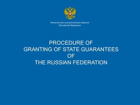 PROCEDURE OF GRANTING OF STATE GUARANTEES OF THE RUSSIAN FEDERATION.