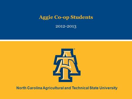 North Carolina Agricultural and Technical State University Aggie Co-op Students 2012-2013.