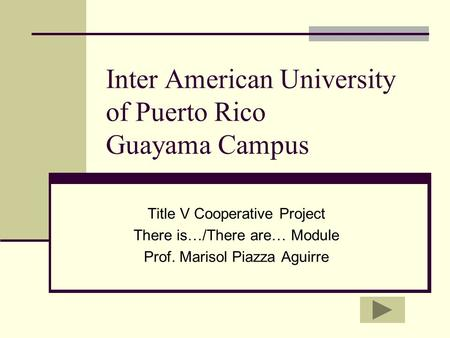 Inter American University of Puerto Rico Guayama Campus Title V Cooperative Project There is…/There are… Module Prof. Marisol Piazza Aguirre.