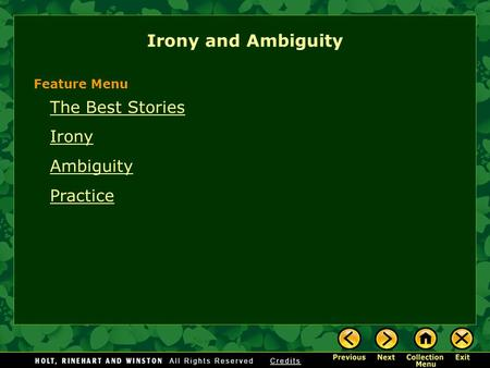 Irony and Ambiguity The Best Stories Irony Ambiguity Practice