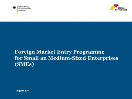 Foreign Market Entry Programme for Small an Medium-Sized Enterprises (SMEs) August 2014.