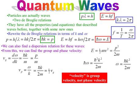 Particles are actually waves Two de Broglie relations They have all the properties (and equations) that described waves before, together with some new.