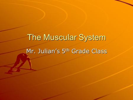 The Muscular System Mr. Julian's 5 th Grade Class.