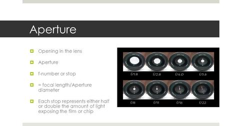 Aperture Opening in the lens Aperture f-number or stop