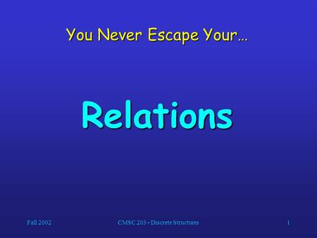 Fall 2002CMSC 203 - Discrete Structures1 You Never Escape Your… Relations.