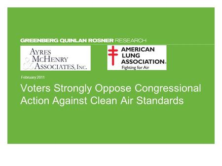 February 2011 Voters Strongly Oppose Congressional Action Against Clean Air Standards.