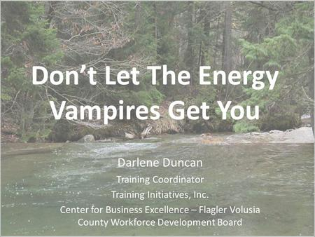 Don't Let The Energy Vampires Get You Darlene Duncan Training Coordinator Training Initiatives, Inc. Center for Business Excellence – Flagler Volusia County.