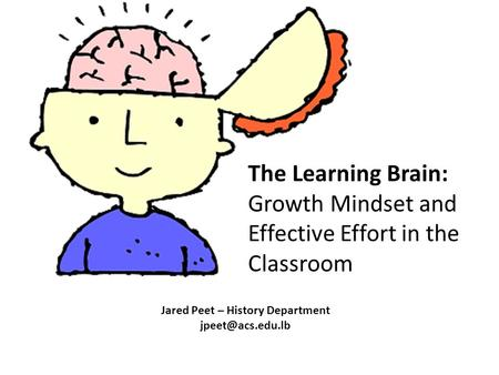 The Learning Brain: Growth Mindset and Effective Effort in the Classroom Jared Peet – History Department