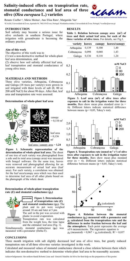 Salinity-induced effects on transpiration rate, stomatal conductance and leaf area of three olive (Olea europaea L.) varieties INTRODUCTION Soil salinity.