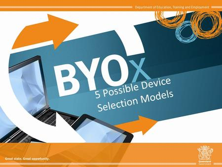 5 Possible Device Selection Models. Bring Your Own 'x' (BYOx) is a term used to describe a digital device ownership model where students and/or staff.