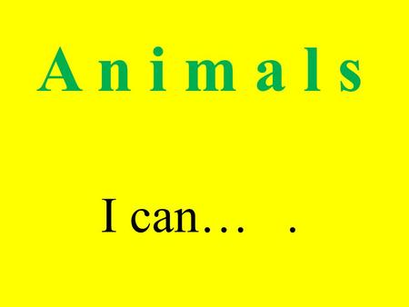 A n i m a l s I can….. I can…. I can't…. --- Can you (it) ……? --- Yes, I (it) can. ---- No, I (it) can't.