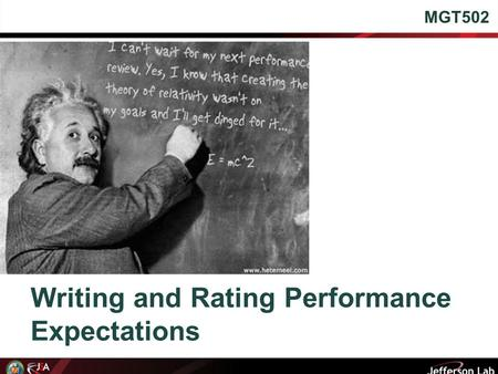 Writing and Rating Performance Expectations MGT502.