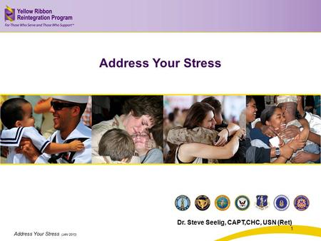 Address Your Stress (JAN 2013) Address Your Stress Dr. Steve Seelig, CAPT,CHC, USN (Ret) 1.