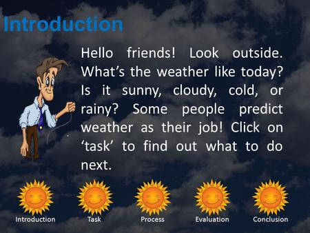 IntroductionTaskProcessEvaluationConclusion Introduction Hello friends! Look outside. What's the weather like today? Is it sunny, cloudy, cold, or rainy?