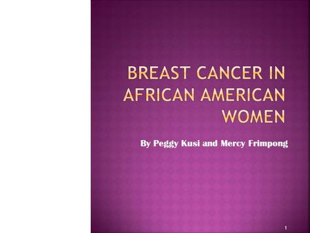 Breast Cancer in African American Women