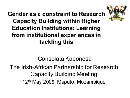 The Irish-African Partnership for Research Capacity Building Meeting