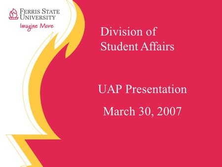Division of Student Affairs UAP Presentation March 30, 2007.
