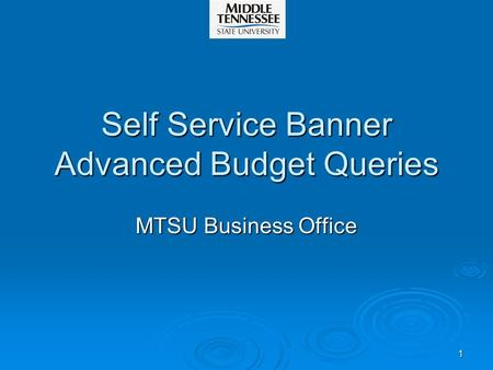 1 Self Service Banner Advanced Budget Queries MTSU Business Office.
