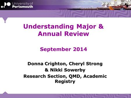 Understanding Major & Annual Review September 2014 Donna Crighton, Cheryl Strong & Nikki Sowerby Research Section, QMD, Academic Registry.