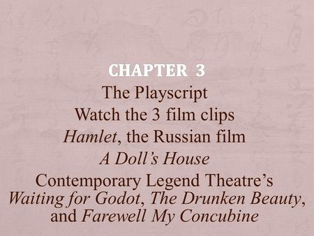 The Playscript Watch the 3 film clips Hamlet, the Russian film A Doll's House Contemporary Legend Theatre's Waiting for Godot, The Drunken Beauty, and.