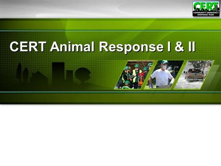 CERT Animal Response I & II. CERT Animal Response I.
