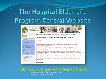 The Hospital Elder Life Program Central Website