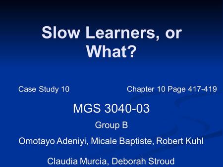 Slow Learners, or What? MGS 3040-03 Group B Omotayo Adeniyi, Micale Baptiste, Robert Kuhl Claudia Murcia, Deborah Stroud Case Study 10 Chapter 10 Page.