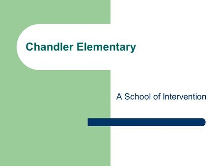 Chandler Elementary A School of Intervention. Goal for today: By the end of the session today, you will be able to identify 3-5 changes our school made.