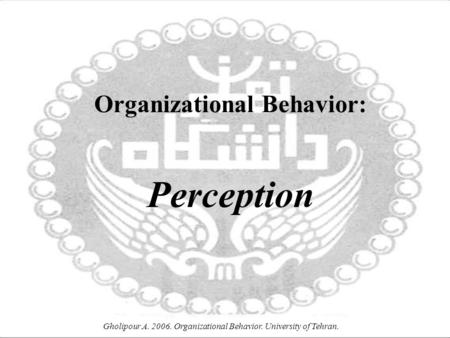 Gholipour A. 2006. Organizational Behavior. University of Tehran. Organizational Behavior: Perception.