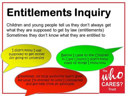 Entitlements Inquiry Children and young people tell us they don't always get what they are supposed to get by law (entitlements) Sometimes they don't know.