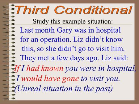 Study this example situation: Last month Gary was in hospital for an operation. Liz didn't know this, so she didn't go to visit him. They met a few days.