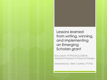 Lessons learned from writing, winning, and implementing an Emerging Scholars grant Sue Leach, PT,PhD,NCS,CEEAA Assistant Professor in Physical Therapy.