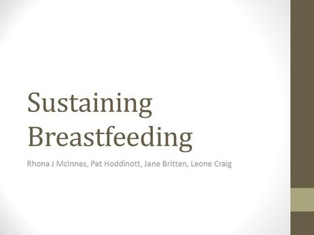 Sustaining Breastfeeding Rhona J McInnes, Pat Hoddinott, Jane Britten, Leone Craig.