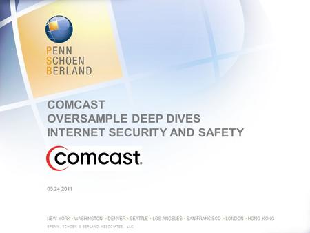 NEW YORK WASHINGTON DENVER SEATTLE LOS ANGELES SAN FRANCISCO LONDON HONG KONG COMCAST OVERSAMPLE DEEP DIVES INTERNET SECURITY AND SAFETY ©PENN, SCHOEN.