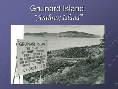 "Gruinard Island: ""Anthrax Island"". Anthrax Disease caused by bacterium 'Bacillus anthracis' Cutaneous, respiratory, and intestinal Cutaneous, respiratory,"