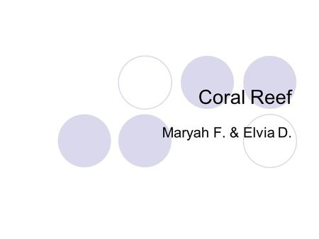Coral Reef Maryah F. & Elvia D.. What does it look like? A coral reef is made up of the shells of single, small marine animals called coral polyps. When.