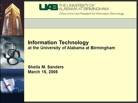 Information Technology at the University of Alabama at Birmingham Sheila M. Sanders March 15, 2005.