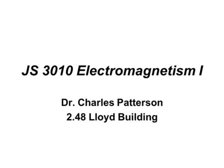 Dr. Charles Patterson 2.48 Lloyd Building