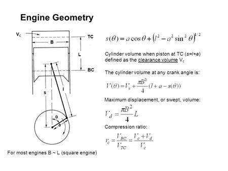 Engine Geometry BC L TC l VC s a q B